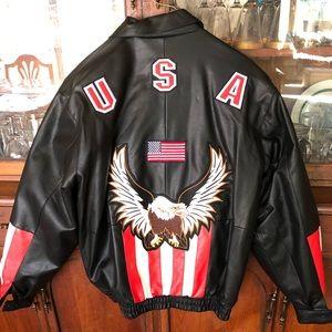 Men's leather USA jacket black xxl brand new
